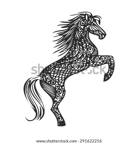 abstract silhouette openwork black horse standing on its hind legs on a white background vector - stock vector