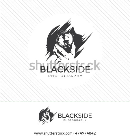 Abstract Silhouette Photography Logo Vintage Style Camera Icon Vector With Photographer Holding A Lens