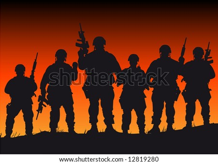 Abstract silhouette vector illustration of several soldiers against a sunset - stock vector