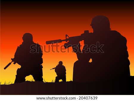 Abstract silhouette vector illustration of soldiers at sundown - stock vector