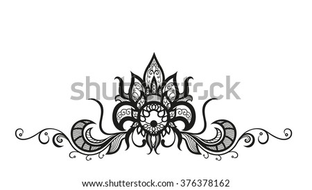 Abstract silhouettes of decorative flower and leaves. These leaves and flowers are reminiscent of lace, they are created to decorate