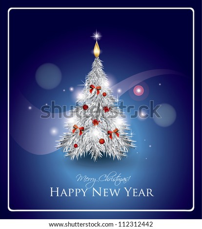 Abstract Silver Christmas Tree - stock vector