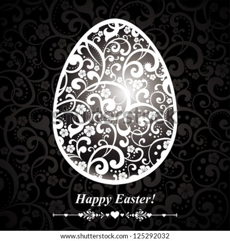 Abstract silver easter egg on black background. Vector illustration - stock vector