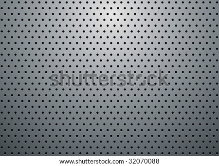 Abstract silver grill background with holes and reflective shadow