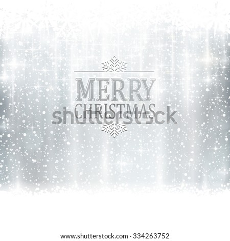 Abstract silver winter, Christmas card with snowflakes, snowfall, out of of focus light dots, stars and light effects and the wording Merry Christmas. Copy space - stock vector