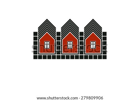 Abstract simple country houses vector illustration, homes image. Touristic and real estate idea, three cottages front view, district. Construction business or property developer theme. - stock vector