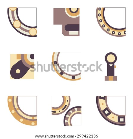 Abstract simple flat color design vector icons for set of quarter parts of bearings. Ball, radial, roller and other types bearings for mechanism components - stock vector