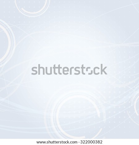 Abstract simple light background with circles and thin wavy strips. Vector graphic pattern - stock vector