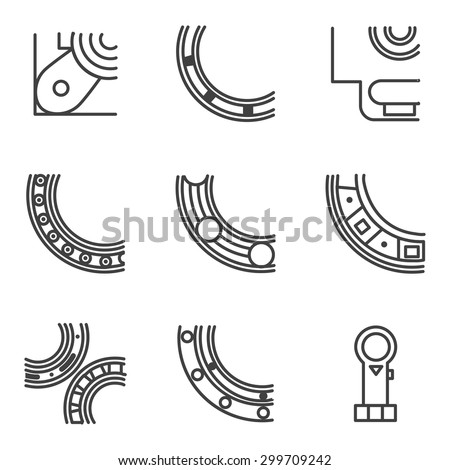 Abstract simple line design vector icons for set of parts of bearings. Ball, radial, roller and other types bearings for mechanism components - stock vector