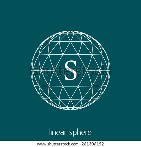 Abstract simple sphere covered by triangles in hipster style with letter S. Outline vector orb - stock vector