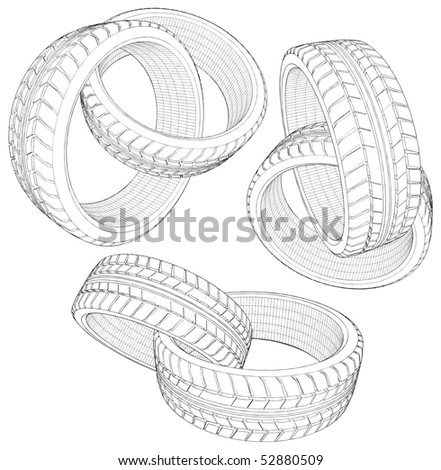 Abstract Six Car Wheel Tire In Chain Vector 13 - stock vector