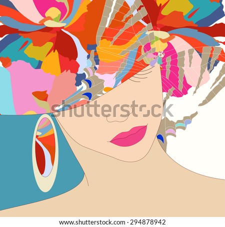Abstract sketch of a girl in a floral hat, beauty, fashion, art,  trendy stylish texture spring summer, color vector prints - stock vector