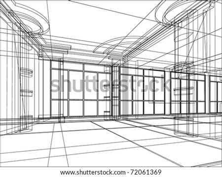 abstract sketch of modern office interior - stock vector