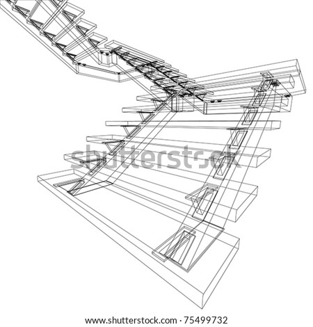 abstract sketch of stairs - stock vector