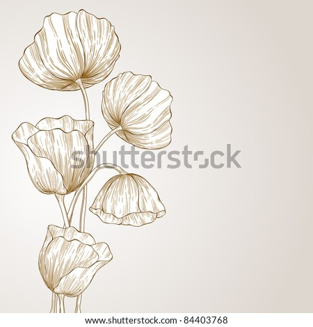 Abstract sketch with poppy flowers. - stock vector