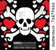 abstract skull grunge background design - stock vector