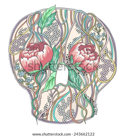 Abstract skull with peony flowers. Floral skull. - stock vector