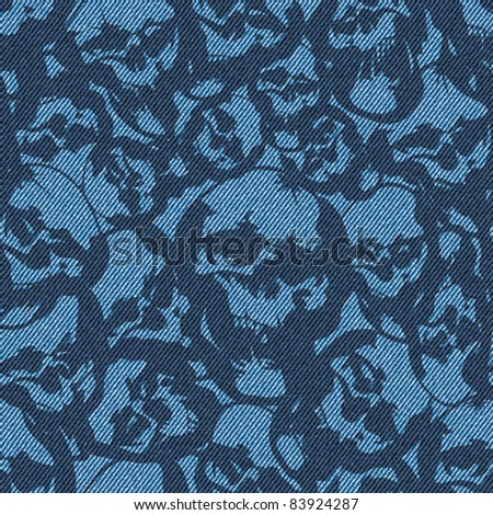Abstract skulls drawn on textured striped blue jeans denim linen fabric background. Seamless pattern. Vector. - stock vector