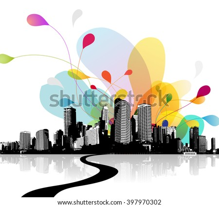 Abstract sky illustration with city scape.  - stock vector