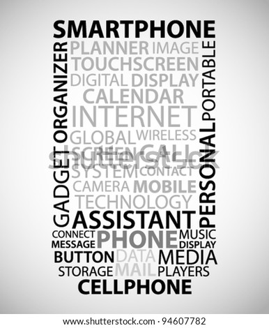 Abstract smart phone made from words with relate with phones - stock vector