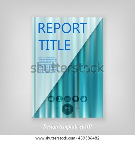Abstract smooth blue report cover template design. Business brochure document layout for company presentations. - stock vector