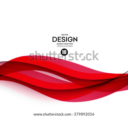 Abstract smooth color wave vector. Curve flow red motion illustration - stock vector