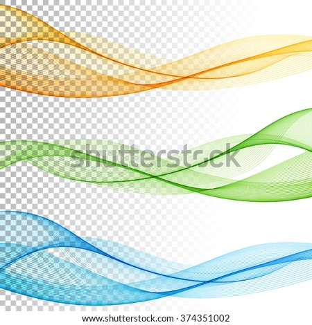 Abstract smooth color wave vector set on transparent background. Curve flow motion illustration - stock vector