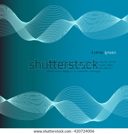 Abstract smooth lines on light blue background. Abstract vector background for text - stock vector