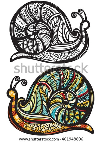 Abstract snail with doodle pattern - stock vector