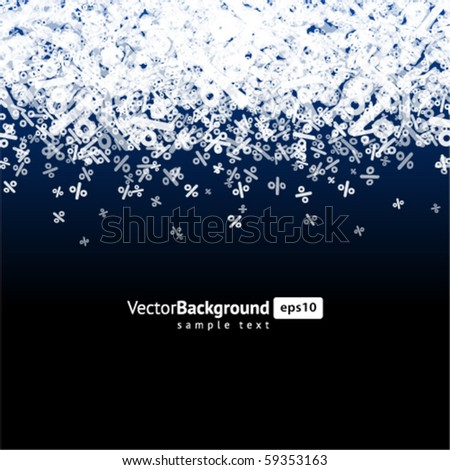 Abstract snow from percent winter sale background vector background - stock vector