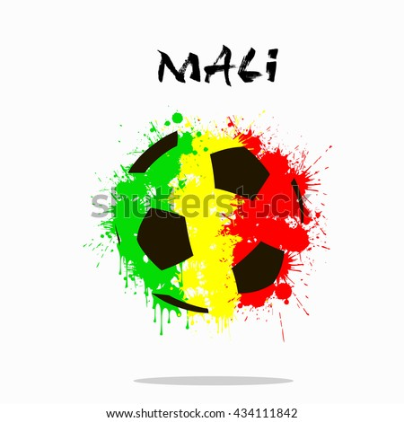 Abstract soccer ball painted in the colors of the Mali flag. Vector illustration  - stock vector