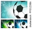 Abstract soccer ball themed background. EPS10 file contains transparencies. Balls and halftone flow are  framed in clipping mask-NOT cropped. - stock vector