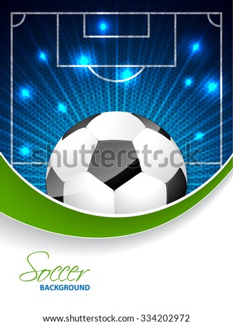 Abstract soccer brochure template design with bursting ball and white space for text - stock vector
