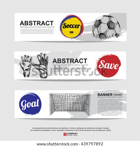 Abstract soccer( football ) banner.Illustration eps 10 - stock vector