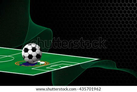 abstract soccer football field on metallic texture design sports concept background