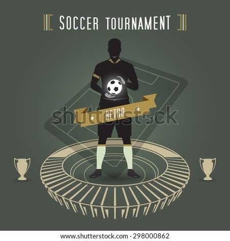 abstract soccer tournament with soccer player and stadium - stock vector