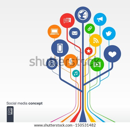 Abstract social media background with lines, circles and icons. Growth tree concept with earth, network, computer, technology, like, mail, mobile and speech bubble icon. Vector illustration. - stock vector