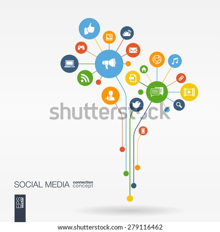 Abstract social media background with lines, connected circles, integrated flat icons. Growth flower concept with network, computer, technology, speech bubble icon. Vector interactive illustration - stock vector