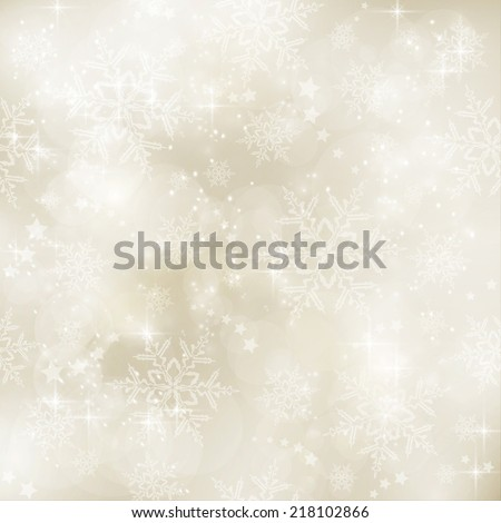 Abstract soft blurry background with bokeh lights, snow flakes and stars in shades  of gold beige. The festive feeling makes it a great backdrop for many winter,  Christmas designs. Copy space. - stock vector