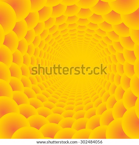 Abstract solar tunnel background illustration. 3d vector bubbles. - stock vector