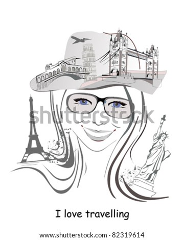 Abstract - Soul of Traveler - stock vector