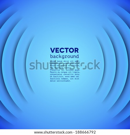 Abstract sound themed vector background with blue paper layers - stock vector