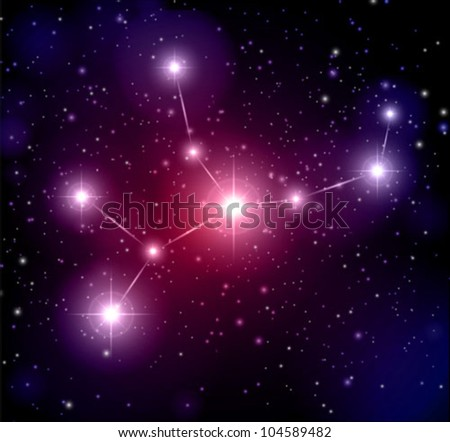 abstract space background and Virgo constellation - stock vector