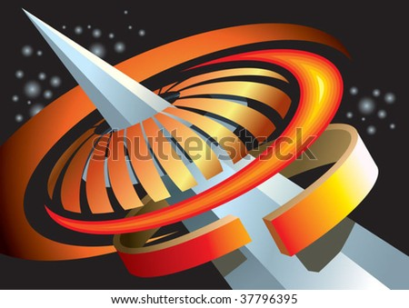 Abstract space background, concentric composition, vector illustration