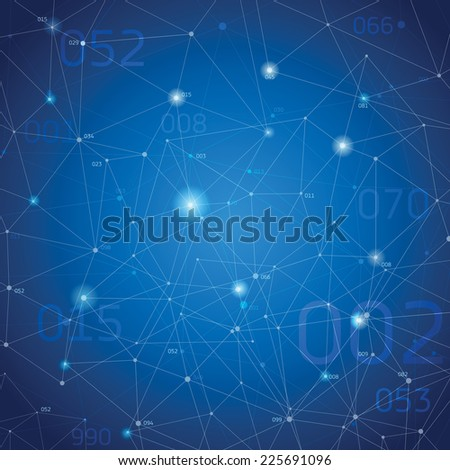Abstract space background, geometry surfaces, lines and points, vector design - stock vector