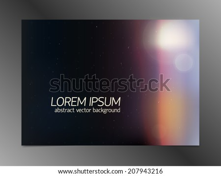 Abstract space background with dark field, light side flash, bokeh, vanishing astronautical cross grid, and effect of irradiated film. For postcards and placards. - stock vector