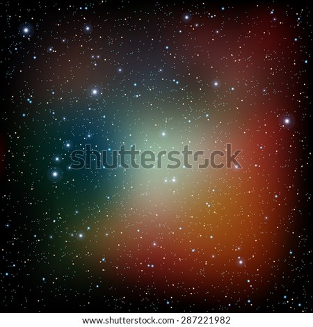 abstract space background with stars nebula and galaxy Vector illustration - stock vector