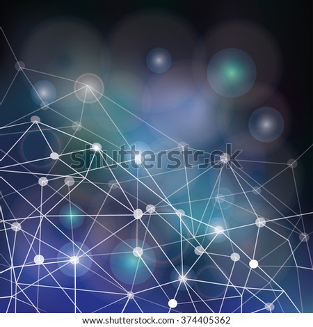 Abstract space polygonal  low poly line background.Vector dark sky blurred background,dots stars,shiny bokeh.Vector science night baskdrop.Futuristic mystery design,universe blur texture,earth day - stock vector