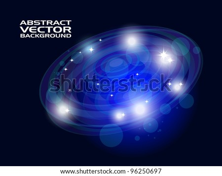 Abstract Space shiny background with blue and white light. - stock vector