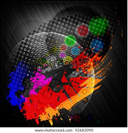 Abstract Space, the Earth, communications on black background - stock vector